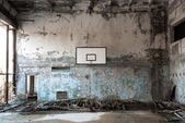 Basket ball room in Chernobyl — Stock Photo
