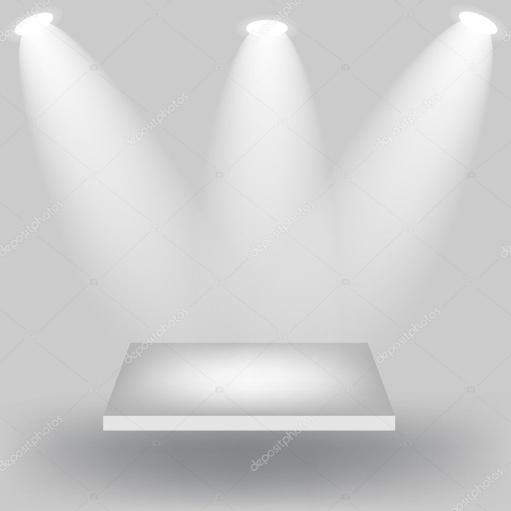 Empty white shelves on light grey background illustrati — Stock ...