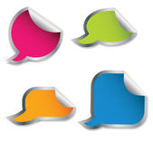 Set of colorful speech bubble stickers different corner and plac — Stok fotoğraf