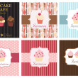 The concept of cupcakes cafe menu. Vector illustration — ストック写真