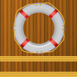 Life Buoy On boards Background, ropes, Illustration. — Stock Photo