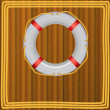 Life Buoy On boards Background, ropes, Illustration. — Stockfoto