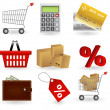 Shopping icons set. Vector illustration — Stock Photo