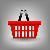 Red shopping basket icon vector illustration — ストック写真