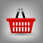 红色购物篮图标矢量图 — 图库照片