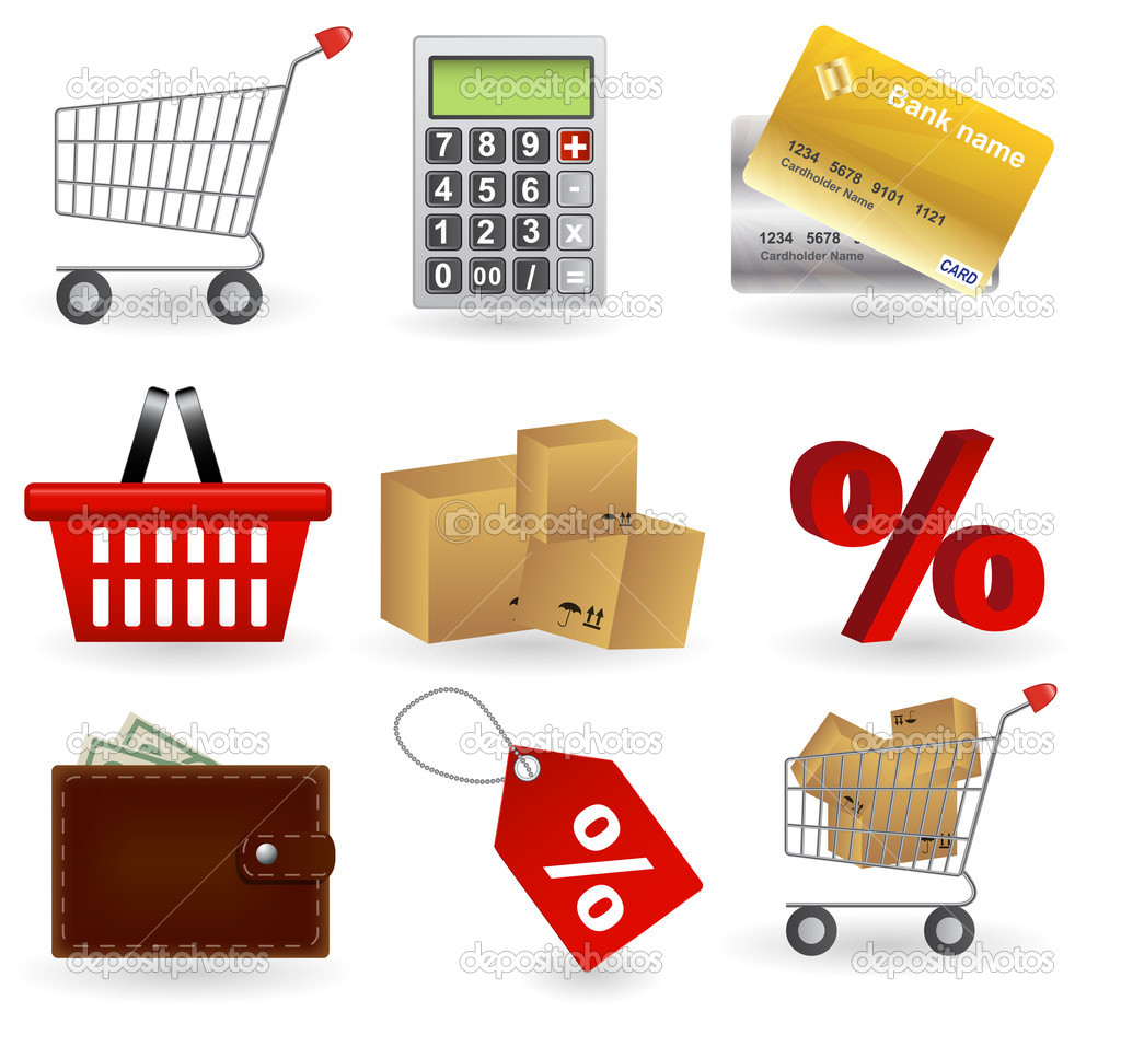 Shopping icons set. Vector illustration — Stock Photo #10921831