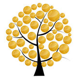 Vector illustration of a money tree with coins . Vector illustra — Stock Photo
