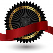 Royalty-Free Stock Photo: Vector black  label with red ribbon.