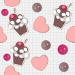 Seamless pattern with cute cupcakes, vector illustration — Stock Photo #11184264