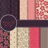 Set of beaautiful vector red and blue paper for scrapbook — Stock Photo