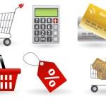 Shopping icons set. Vector illustration — Stock Photo