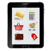 Concept of Shopping icons set ob abstract design table. Vector i — Stock Photo