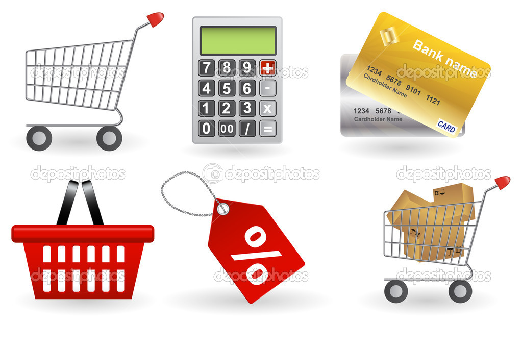 Shopping icons set. Vector illustration  Stock Photo #11279575