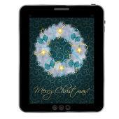 タブレットでビンテージ背景に現実的なクリスマスの花輪。vec — ストック写真