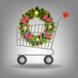 Royalty-Free Stock Photo: Shopping cart and christmas wreath. Vector illustration.