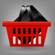 Red shopping basket with tablet vector illustration — Stock Photo