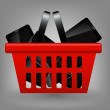 Stock Photo: Red shopping basket with tablet vector illustration