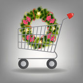 Shopping cart and christmas wreath. Vector illustration. — Stock Photo