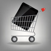Vector illustration of supermarket shopping cart with tablet ic — Stock Photo