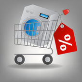 Vector illustration of supermarket shopping cart with washing m — Stock Photo