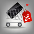 Vector illustration of supermarket shopping cart with mobile ph — Stockfoto #11593556
