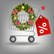 Stock Photo: Shopping cart and christmas wreath. Vector illustration.
