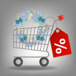 Shopping cart and christmas wreath. Vector illustration. — Stock Photo #11593765