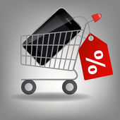Vector illustration of supermarket shopping cart with mobile ph — Stock Photo