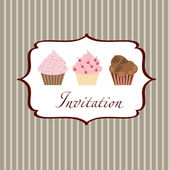 Cupcake invitation background — Stock Photo
