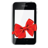 Abstract design mobile phone with red bow and ribbon. Vector i — Zdjęcie stockowe