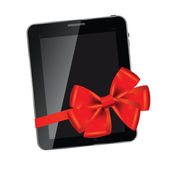 Abstract design Tablet with red bow and ribbon — Stock Photo