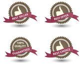 Vektor bästa säljaren etikett med rött band. — Stockfoto