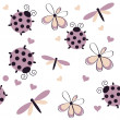 Romantic seamless pattern with dragonflies, ladybugs, hearts and — Stock Photo