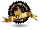 Vector Best Offer label with red ribbon. — Stock Photo