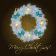 Realistic christmas wreath on vintage background vector illustra — Stockfoto