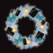 Realistic christmas wreath wih phones and tablets on vintage bac — 图库照片