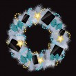 Realistic christmas wreath wih phones and tablets on vintage bac - Stock Photo