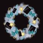 realista Natal grinalda wih telefones e comprimidos sobre vintage bac — Foto Stock