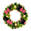 Realistic christmas wreath wih phones and tablets on vintage bac — Stock Photo