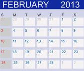 Calendario 2013. febbraio. illustrazione vettoriale — Foto Stock