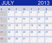Calendar 2013. July. Vector Illustration — Stock Photo