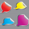 Foto Stock: Set of colorful speech bubble stickers different corner and plac