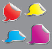 Set of colorful speech bubble stickers different corner and plac — ストック写真