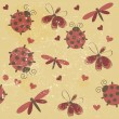 Romantic seamless pattern with dragonflies, ladybugs, hearts and — Stock Photo #12258327