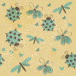 Romantic seamless pattern with dragonflies, ladybugs, hearts and — Stock Photo #12258380