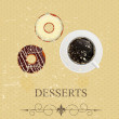 Retro vintage grunge style dessert menu. vector illustration — 图库照片