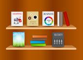 Estante com ilustração vetorial de livros — Fotografia Stock