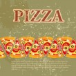 Pizza Menu Template in vintage retro grunge style — Stock Photo