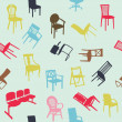 Big set of home chair silhouettes seamless pattern — Stock Photo
