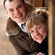 Portrait of a happy young couple — Stockfoto